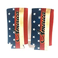 PKM - (2) AMERICA USA AMERICAN FLAG Slim Can Cooler Sleeve - Beer Blank Skinny 12 oz Neoprene Coolie - Perfect For 12oz Red Bull, Michelob Ultra,Truly