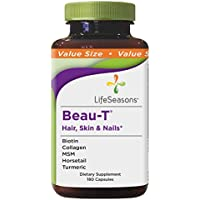 LifeSeasons - Beau-T - Hair, Nail, and Skin Supplement - Maintain Healthy Hair and Nail Growth - Supports Clear Skin - Nail Strengthener - Contains Biotin, Collagen, Turmeric, (180 Capsules)