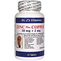 Dr. Z's Vitamins: Zinc Plus Copper - 50 MG of Zinc and 2 MG of Copper - Supports: Energy, Immune System, Skin & Hair, Glucose Metabolism, Eye and Brain - 60 Easy to Swallow Tablets