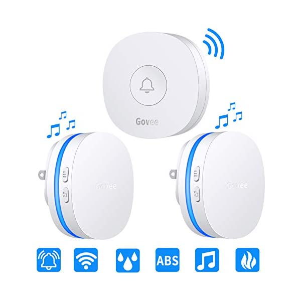 Waterproof Doorbell Kit with 2 Plug-in Receivers and 1 Transmitter Push Button Operating at Over 600 Feet Range with 52 Chimes /& LED Flash Homasy Wireless Doorbell