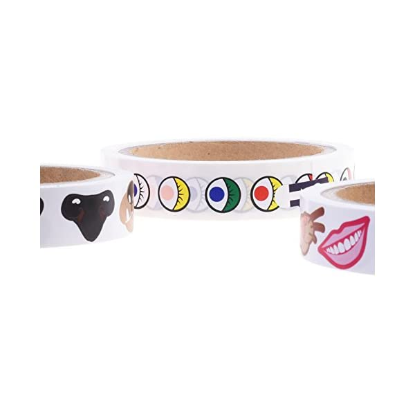 BCP Roll of 1000 Colorful Mustache Cartoon Mini Sticker Decal for Party Favor D/écor Notebook Sticker Coloring Book