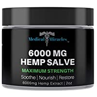 Medical Miracles Hemp 6000 Mg Maximum Strength Healing Salve | 100% Natural Cream Relieves Inflammation, Muscle, Joint, Knee, Nerve, Arthritis Aches & Pain | Fast Acting, Extreme Power, Quick Relief