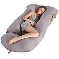 BATTOP Pregnancy Pillow,Full Body Maternity Pillow for Pregnant Women with Washable Premium Cotton Cover for Back Belly Hips Legs (Light Gray)