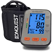 KONQUEST KBP-2704A Automatic Upper Arm Blood Pressure Monitor - Accurate, FDA Approved - Adjustable Cuff, Large Backlit Display - Irregular Heartbeat & Hypertension Detector - Tensiometro Digital