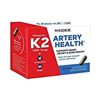 Vitamin K2 as MK7 (180mcg) w/Aronia Berry & Ginger Root - Heart & Bone Health - Easy to Swallow Veggie Capsules - Supports Arterial Flexibility & Healthy Blood Flow - 60ct