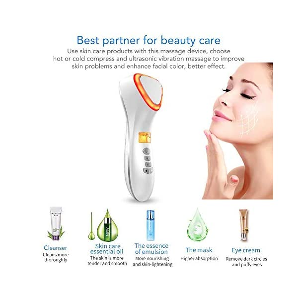 Facial Massager,Hot and Cool Skin Care Device, Portable Handheld Vibration Face Care Beauty Device,Skin Calm,Anti-Wrinkle,Promote Cream and Absorption(White)