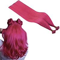 Runature Nail Hair Extensions 20 Inches Hot Pink Color 25g 1.0g Per Strand Human Hair Pre Bonded Hair Extensions 25 Strands