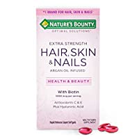 Extra Strength Hair Skin and Nails Vitamins by Nature's Bounty Optimal Solutions, with Biotin and Vitamin B, Supports Skin and Hair Health, 150 Count