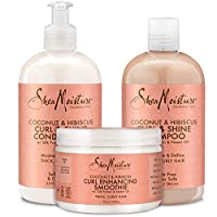 Shea Moisture Coconut and Hibiscus Combination Pack – 13 oz. Curl & Shine Shampoo, 13 oz. Curl & Shine Conditioner & 12 oz. Curl Enhancing Smoothie