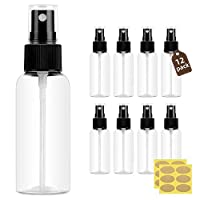 Lisapack 1oz Small Plastic Spray Bottle (12 Pack) Empty Mini Fine Mist Travel Size Atomizer, Tiny Sprayer, Little Spritz for Perfume, Water, Cologne, Alcohol, Samples, Hair (Clear, 30ml)