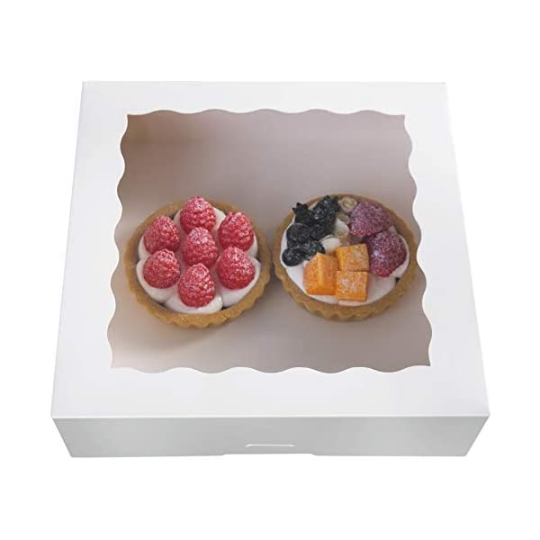 25pcs 8Brown Bakery Pie Boxes,ONE MORE Kraft Cardboard Cookie Box with Window Auto-Popup Natural Disposable Pastries Boxes 8x8x2.5inch,Pack of 25