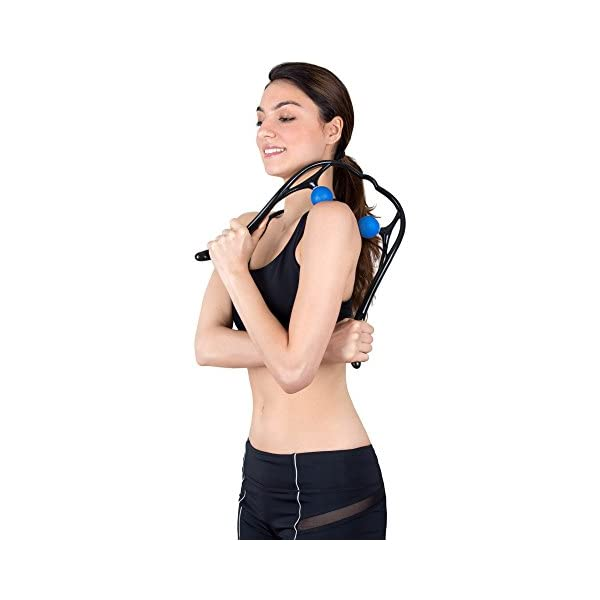Neck Massager, LuxFit Neck and Shoulder Shiatsu Deep Tissue Trigger Point Manual Self Muscle Massage