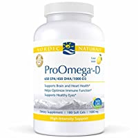 Nordic Naturals ProOmega-D - Fish Oil, 650 mg EPA, 450 mg DHA, 1000 IU vitamin D3 Cholecalciferol, Support for Cardiovascular, Neurological, Eye, and Immune Health*, Lemon Flavored, 180 Count