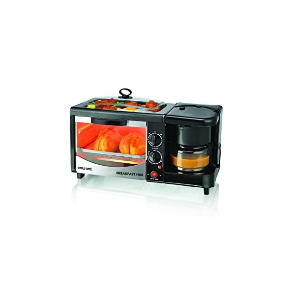 4 Slice Toaster Oven, Large 10 Diameter Griddle Pan, Multi Cup Coffee Maker Black Courant 3-in-1 Multifunction Breakfast Hub