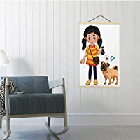 Hitecera A Girl Cleaning Dog Colorful - Illustration Australia,Poster Frames Garbage 16/19/24 Frams 24x47in(WxH)