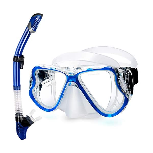 Safe Free Breathing Anti-Leak Dry Top Snorkel Anti-fog Underwater Mask with Impact Resistant Panoramic Tempered Glass for Childs Girls OMORC Kids Snorkel Set Boys
