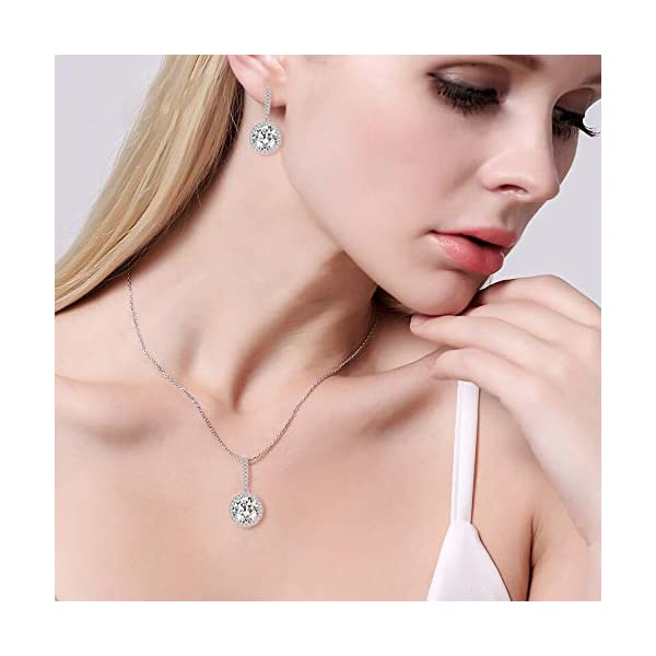Wordless Love Wedding Jewelry Sets For Brides Prong Oval CZ Teardrop Necklace and Earring