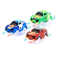 HAPISIMI Track Car 3 Pack, Green Race, Blue Police and Red Sport Car, with 5 LED Lights, Compatible with Most Tracks Including Magic Tracks, Neo Twister Tracks