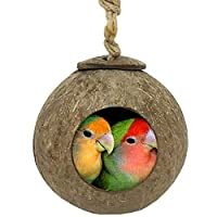 TIHOOD Coconut Bird Nest,Natural Coconut Shell Bird Nest House Hut Cage for Pet Parrot Budgies Parakeet
