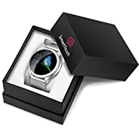 Smart Touch Luxury Ladies KW20 Smart Watch w/Dazzling Rhinestones, IP68 Waterproof, Bluetooth | Sleep & Heart Rate Monitor, Pedometer, Physiological Reminder, Camera| Smartwatch for Women (Silver)