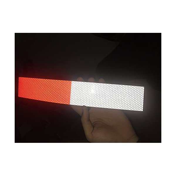 2 inch DOT Tape for Trucks Trailers Autos Self-Adhesive PET Safey Warning Tape Waterproof Red White Conspicuity Tape Starrey Reflective Tape Roll 2X10 DOT-C2 Approved