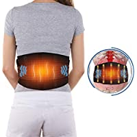 Electric Massage Waist Heating Pad, Adjustable Heated and Massage Lower Back Hot Therapy Pad for Back Abdominal Stomach Cramps Lumbar Muscle Pain Relief, 1 Button Control 3 Heated & Massage