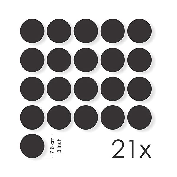 Set of 21 Rounds - Diameter: 3 in Decooo.be Anti-Collision Stickers to Prevent Persons or Birds Strikes on Window Glass//Choice of Colours Available - Window Decals Black
