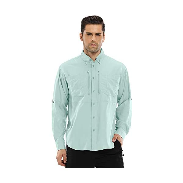 COOFANDY Mens Casual Long Sleeve Fishing Shirt Outdoor Quick-Dry Breathable Shirts