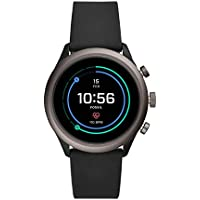 Fossil Men's Sport Heart Rate Metal and Silicone Touchscreen Smartwatch, Color: Grey, Black (FTW4019)