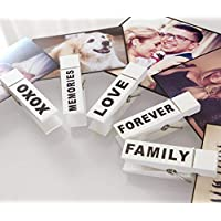 Love Picture Display. Five X-Large White Decorative Wood Clothespins for 4x6 • 5x7 Photos. Trendy Clips For Pictures. Romantic Gift for Boyfriend / Girlfriend. Lovely Valentine Gift for Wife / Husband