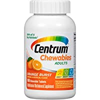 Centrum Chewable Multivitamin for Adults, Multivitamin/Multimineral Supplement with Vitamin C, D3, E and Antioxidants, Orange Burst Flavor - 100 Count