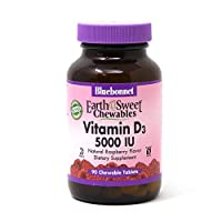 Bluebonnet Nutrition Earth Sweet Vitamin D3 5000 IU Chewable Tablets, Aids in Muscle & Skeletal Growth, D3, Non GMO, Gluten, Free, Soy Free, Milk Free, Kosher, 90 Chewable Tablets, Raspberry Flavor