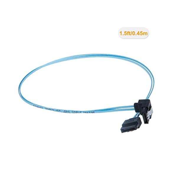 0.6FT Blue CableCreation SATA III Cable, 18-inch SATA III 6.0 Gbps 7pin Female Straight to Right Angle Female Data Cable with Locking Latch 2-Pack