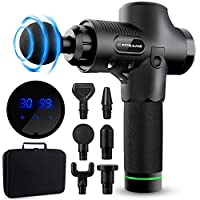 FITGAME Massage Gun 30 Speed Levels for Rapid Tension Relief   Quiet Professional Handheld Muscle Gun with 6 Replacement Heads - Adjustable Percussion Massaging - Relieve Sore & Stiff Muscles (Black)