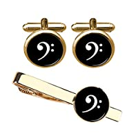 ZUNON Music Cufflinks Music Note Bass Clef & Tie Clip Musician Teacher Student Graduation Party Mens Shirt Cuff