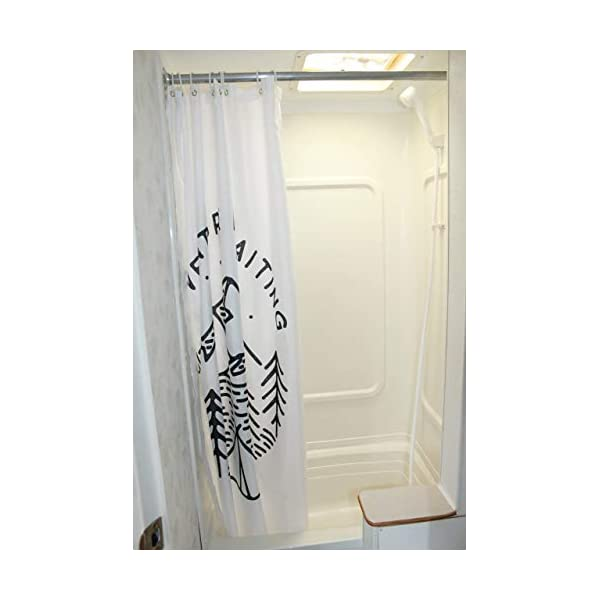 47x64 White Solid Elements RV Shower Curtain Accessories Gear for Camper Trailer Camping Bathroom-Shorter and Narrow Shower Sliding Cloth Curtain with Hooks Set