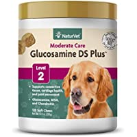 NaturVet – Glucosamine DS Plus - Level 2 Moderate Care – Supports Healthy Hip & Joint Function – Enhanced with Glucosamine, MSM & Chondroitin – for Dogs & Cats – 120 Soft Chews