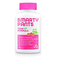 Daily Gummy Multivitamin Teen Girl: Vitamin C, D3, & Zinc for Immunity, Biotin for Hair & Skin, Omega 3 Fish Oil, Vitamin B6 & Methyl B12 for Energy, Iodine by Smartypants (120 Count, 30 DaySupply)