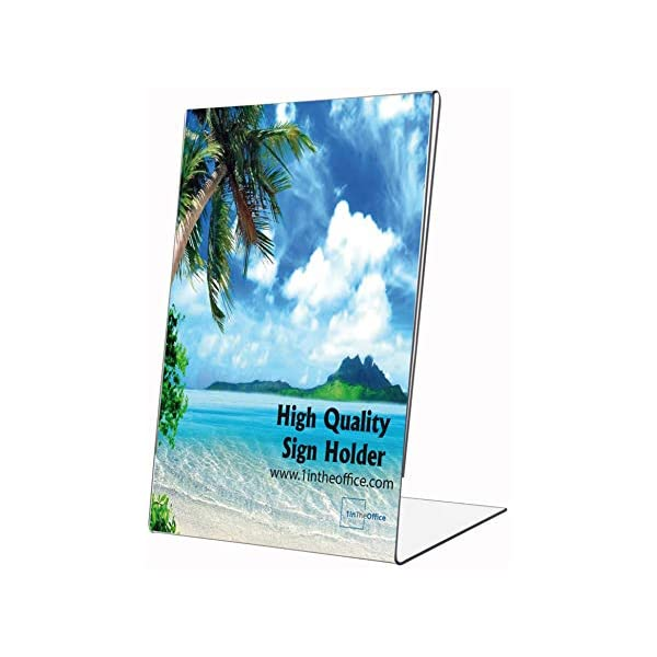 1InTheOffice Vertical Stand-Up Sign Holder 8.5 x 116 Pack