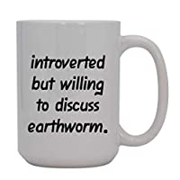Introverted But Willing To Discuss Earthworm - 15oz Ceramic White Coffee Mug Cup, Light Green