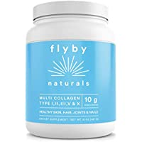 Flyby Collagen Peptides Powder (16oz - 45 Servings) – (Type I, II, III, V & X) Hydrolyzed Grass-Fed Keto Protein Supplement Supports Hair, Skin, Nails, Joints – Organic, Non-GMO, Pure & Unflavored