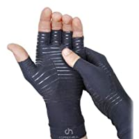 COPPER HEAL Arthritis Compression Gloves - Best Copper Glove Rheumatoid Arthritis, Carpal Tunnel, RSI Osteoarthritis & Tendonitis Open in Fingers Fingerless Fit Size