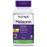 Natrol Melatonin Fast Dissolve Tablets, Helps You Fall Asleep Faster, Stay Asleep Longer, Easy to Take, Dissolves in Mouth, Strengthen Immune System, Maximum Strength, Strawberry Flavor, 1mg, 90 Count
