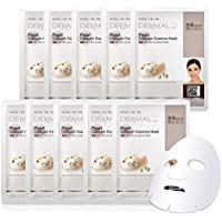 DERMAL Pearl Collagen Essence Facial Mask Sheet 23g Pack of 10 - Brighten and Clarify Skin, Skin Smooth, Daily Skin Treatment Solution Sheet Mask