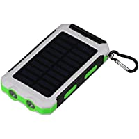 Black + Blue Yuehuam Solar Charger,10000mAh Outdoor Fast Charge Solar Mobile Power Bank Case DIY Kit IP6 Water-Resistant2 USB Ports Portable Phone Charger with Compass
