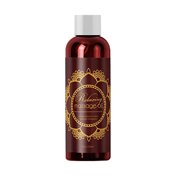 Relaxing Massage Oil - Intense Aromatherapy Oil for Erotic Massages & Sore Muscle Relief Detoxifying Body Care with Almond Lavender Essential Oil Bergamot & Jojoba - For Him & Her by Honeydew