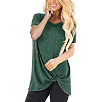 Clearaence for Women Blosue 2019, Limsea Women Tops Casual Short Sleeve O Neck Blouse Twist Knotted T- Shirt