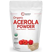 Pure Acerola Cherry Powder Organic, Natural and Organic Vitamin C Powder for Immune System Booster, 8 Ounce, Best Superfoods for Beverage, Smoothie and Drinks, No GMOs and Vegan Friendly