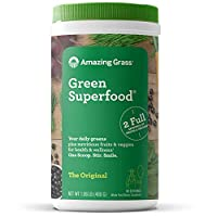 Amazing Grass Green Superfood: Super Greens Powder with Spirulina, Chlorella, Digestive Enzymes & Probiotics, Original, 60 Servings