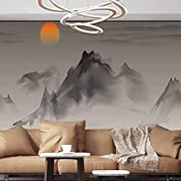 Wall Paper Decorations Chinese painting landscape beautiful white Self-Adhesive Large Wallpaper,55x39 inches/140X100 cm,wall stickers For Office bedroom School Family Wall Decals